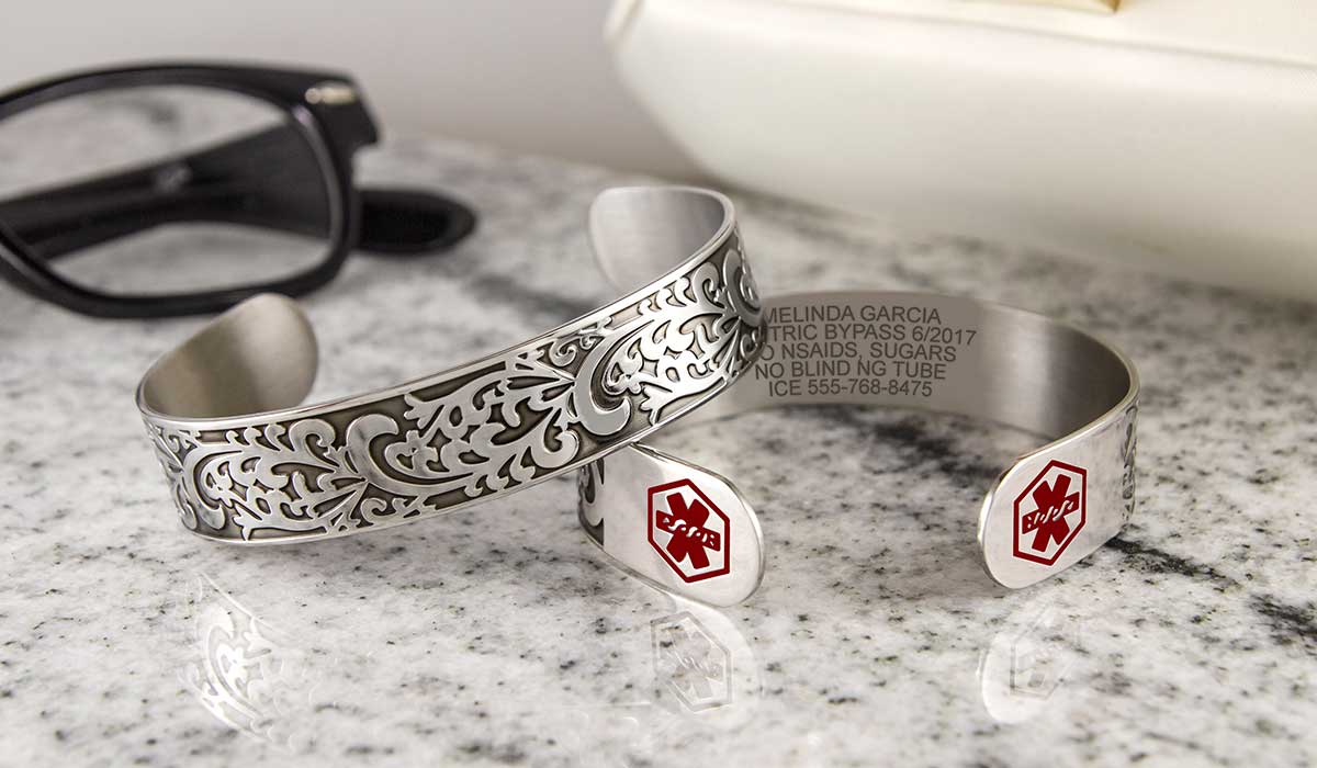 Silver medical alert cuff bracelet with custom engraving for Gastric Bypass