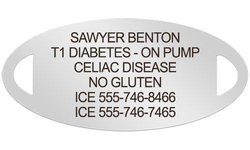 Celiac Disease medical alert tag with custom engraving