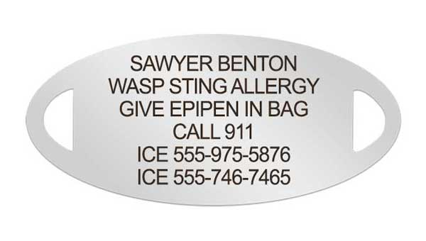 Silver medical ID tag with wasp allergy engraving