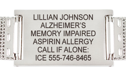 Alzheimers medical alert tag with custom engraving