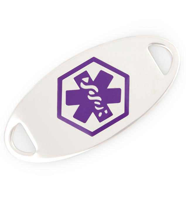 Silver tone medical ID tag with purple caduceus symbol centered on front. Personal engraving goes on the back.