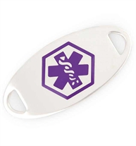 Purple medical caduceus symbol on an oval-shaped, silver-tone, stainless steel medical alert bracelet tag
