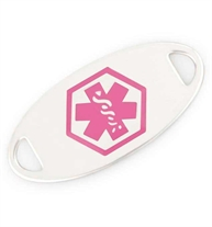 Bright pink medical caduceus symbol on an oval-shaped silver-tone stainless medical alert bracelet tag, on white background
