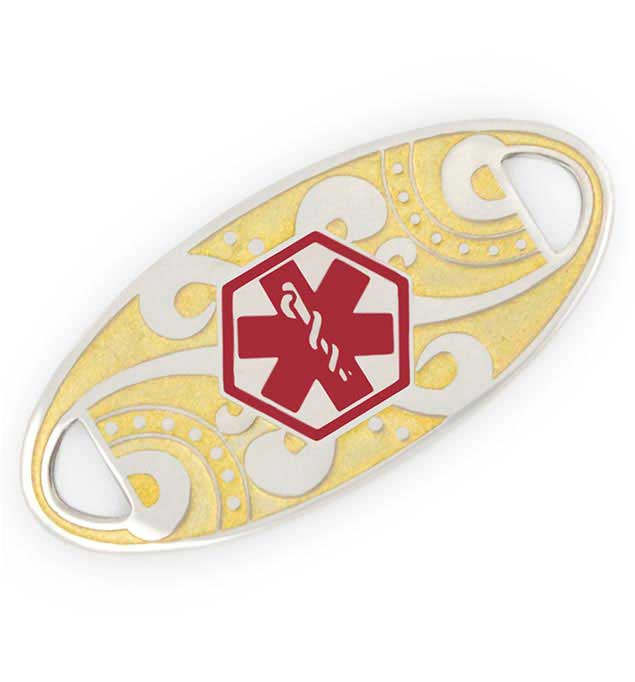 Two Tone Oval Filigree Medical ID Tag