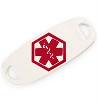 Modern Stainless Red Medical ID Tag. A rectangular silver-tone stainless med ID tag with rounded edges and red caduceus