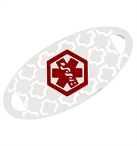 Oval stainless steel medical alert tag with white geometric pattern and centered red caduceus symbol