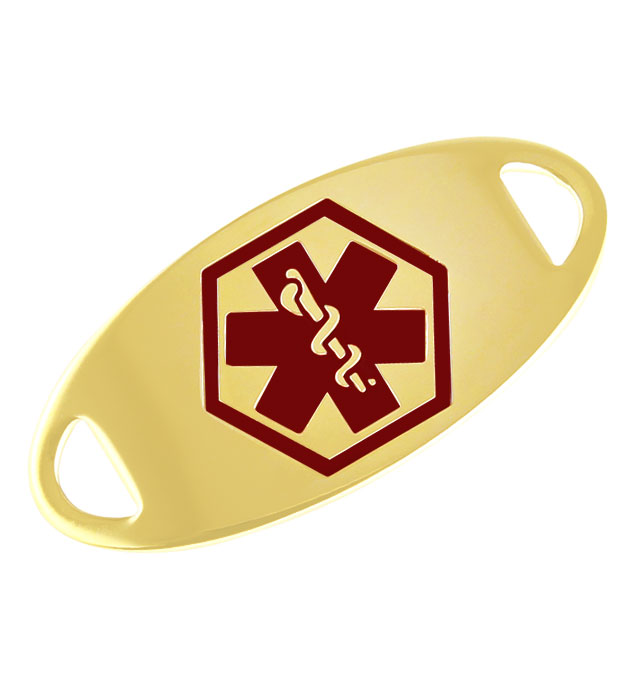 Gold Tone Oval Medical ID Tag