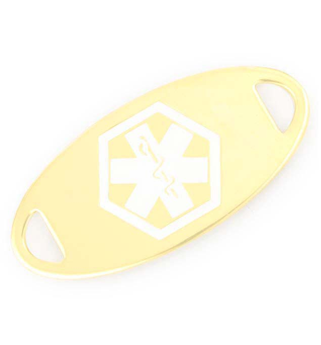 Gold Tone White Oval Medical ID Tag