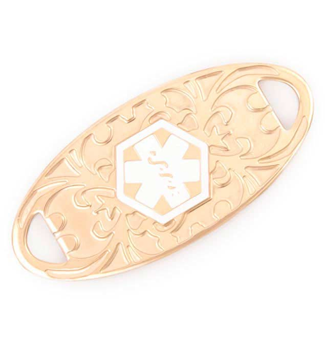 Rose Gold Tone Gardenia Medical ID Tag