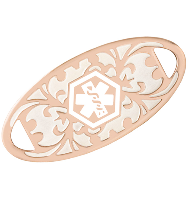 Decorative rose gold medical ID tag with pearlescent inlay and white medical symbol