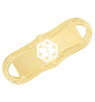 Gold medical ID tag with white medical symbol and curved edges