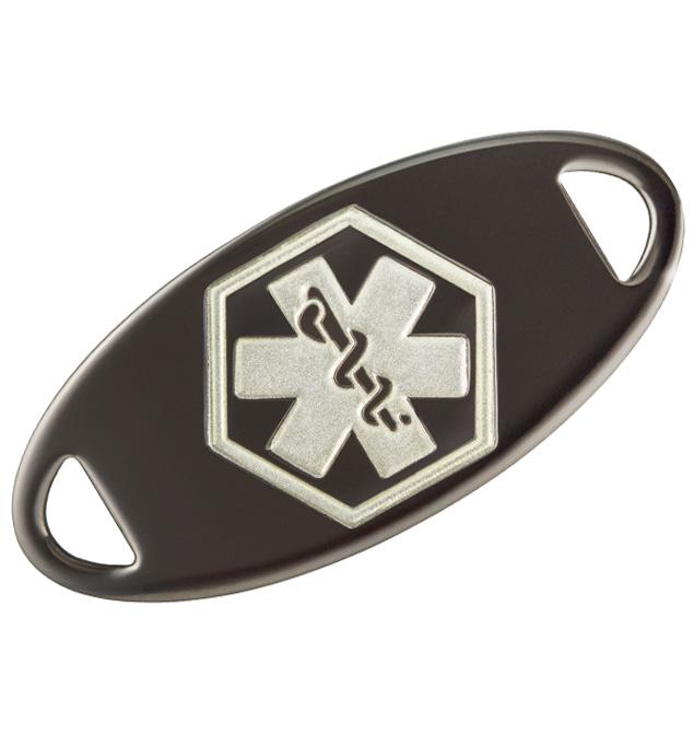 Gunmetal Medical ID Tag