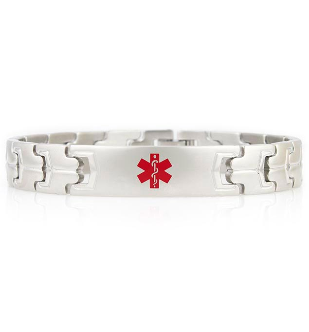 Stealth Medical ID Bracelet, a silver-tone, stainless steel, linked medical ID bracelet with affixed ID tag and red caduceus