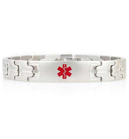 Silver tone watch style linked medical bracelet for men with red alert symbol