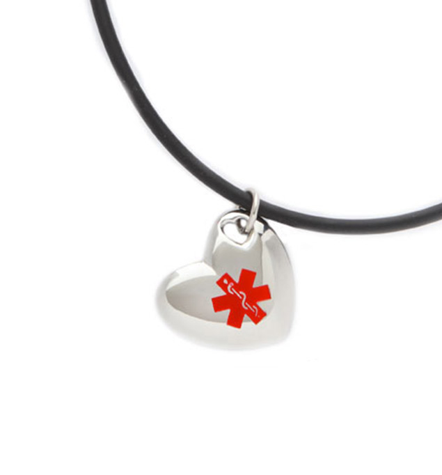 Puff Heart Medical Alert Pendant with Black Tube