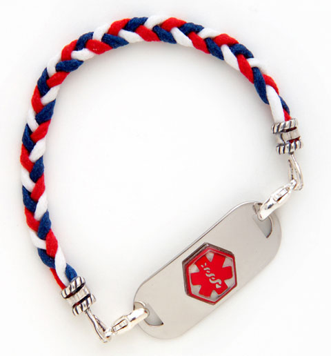 Red/White/Blue Cotton Braid Medical ID Bracelet