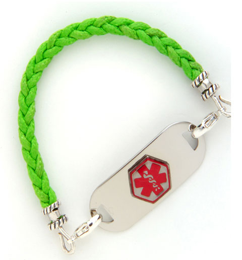 Lime Green Cotton Braid Medical ID Bracelet