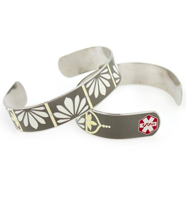 Petal Cuff Stainless Steel Medical ID Bracelet