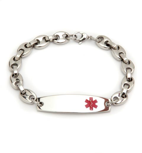 Oval Link Stainless Steel Medical ID Bracelet