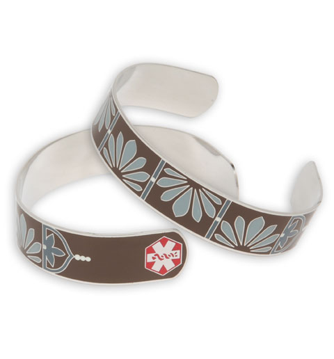 Brown Petal Cuff Stainless Steel Medical ID