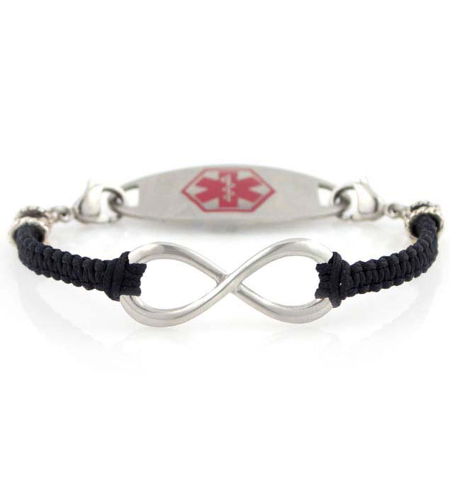 Infinite Beauty in Black Medical ID Bracelet