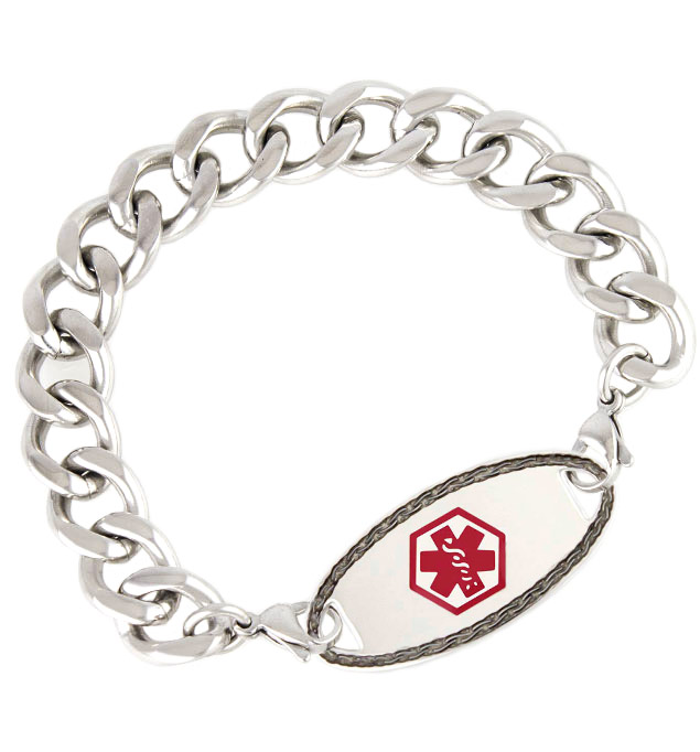 id bracelet basic choice symbol curb chain color myiddr hemophilia medical steel a of