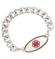 Silver tone heavy weight curb chain interchangeable bracelet and Oval Border tag with red symbol of life.