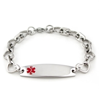 Open Heart Stainless Steel Medical ID Bracelet