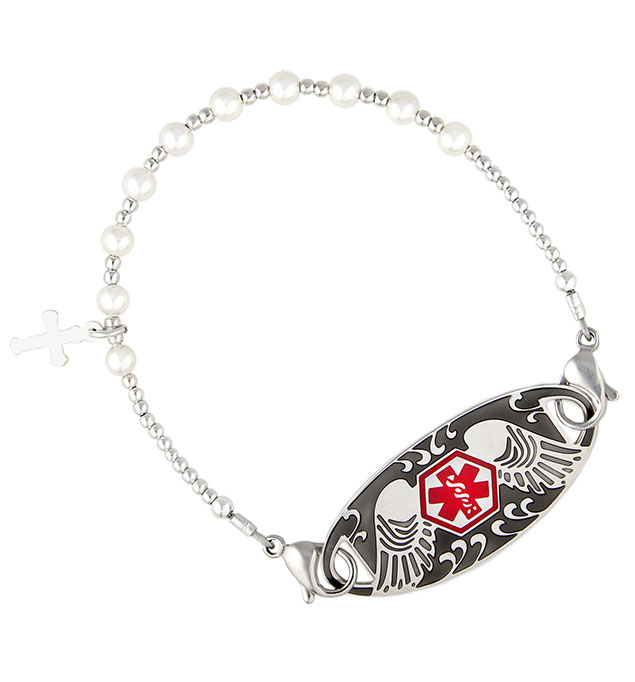 Pearls of Faith Medical ID Bracelet with Guardian Angel Tag