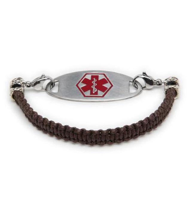 Brown Macrame Medical ID Bracelet with Tag