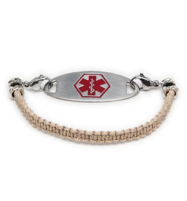 Tan Macrame Medical ID Bracelet with Tag