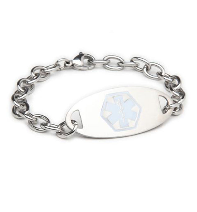 Dallas White Oval Stainless Medical ID Bracelet