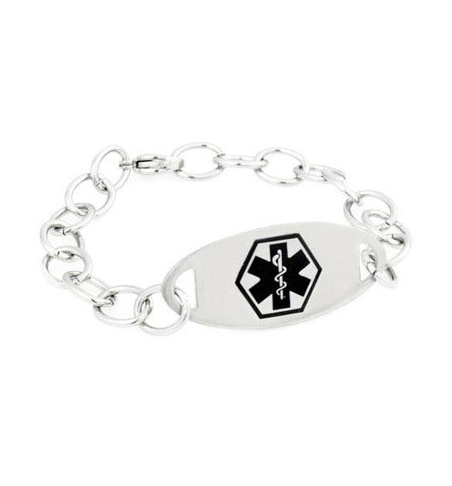 Kenai Black Oval Stainless Medical ID Bracelet