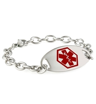 Fremont Red Oval Stainless Medical ID Bracelet. Wrangler stainless chain. Permanently-affixed med ID tag with red caduceus