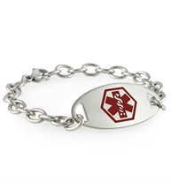 Interlocking steel chain affixed to a red oval ID tag with red caduceus symbol centered on the front.