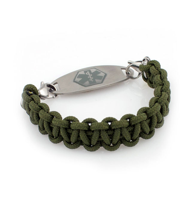 Tuff Paracord Medical ID Bracelet with Charcoal Oval Medical ID Tag