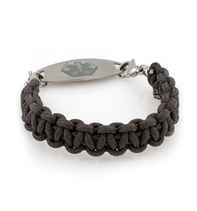 Rough Paracord Medical ID Bracelet with Charcoal Oval Medical ID Tag