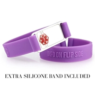 ActiveWear medical alert bracelet with purple silicone band and silver ID tag