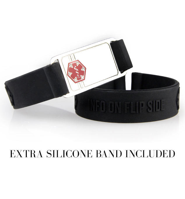 "1/2 inch black silicone band with 1-3/8"" x 3/4"" silver tone stainless Med ID tag with red caduceus attached and extra band"