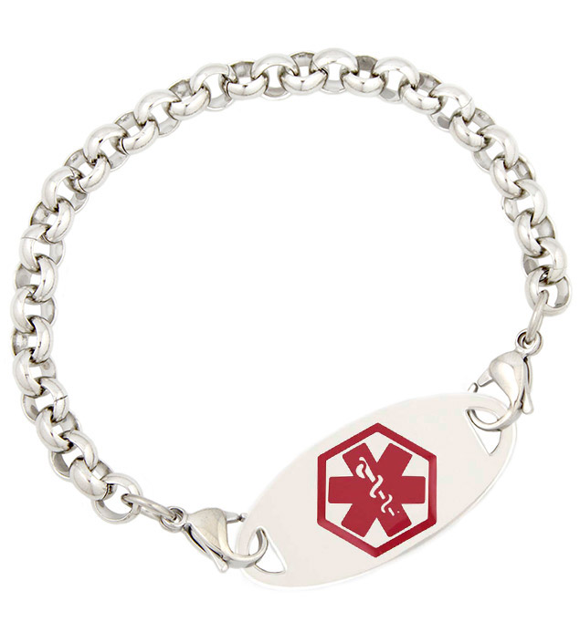 Stainless Steel Rolo Medical ID Bracelet