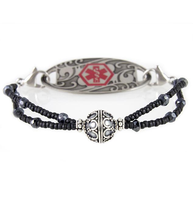 Dark Night Medical Alert Bracelet with Gardenia Tag