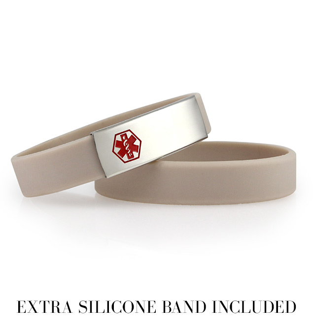 Tan Silicone Band ActiveWear Medical Alert Bracelet