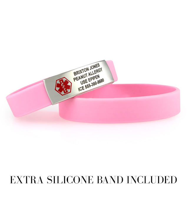 2 Light Pink ActiveWear Slim Medical ID Bracelets. One has an engraved medical alert plaque with red caduceus. One extra band