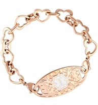 Rose gold tone heart links make up a single chain that attaches to a medical ID tag