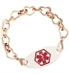 Rose Tone Love Always Medical ID Bracelet, a plated stainless chain with open heart links, with the Red Oval Medical ID Tag