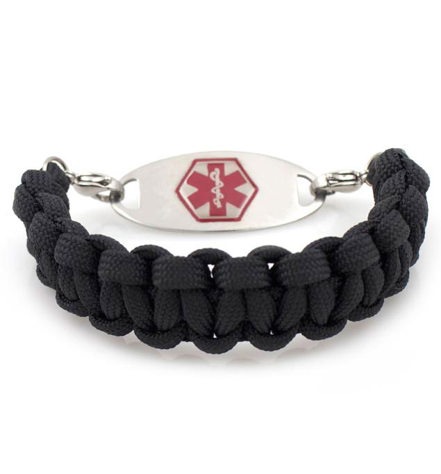 Black Paracord Medical Alert Bracelet With Tag
