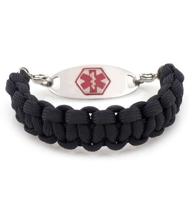 Black Paracord Medical Alert Bracelet With Tag
