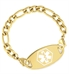 Yellow gold medical alert chain bracelet with gold oval medical ID tag