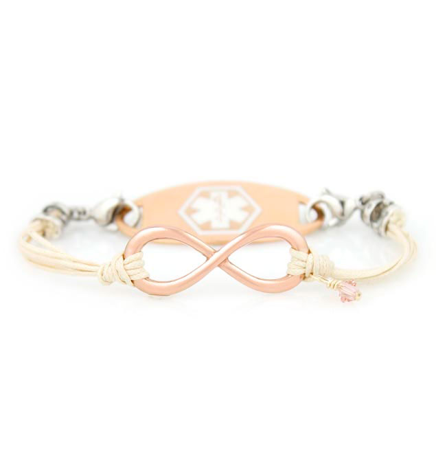 Infinite Bliss Medical ID Bracelet with Rose Gold Tone Oval Medical ID Tag