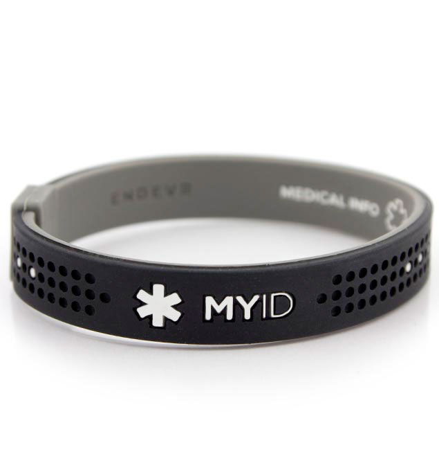 MyID Sport Black and Gray Medical ID Bracelet Front